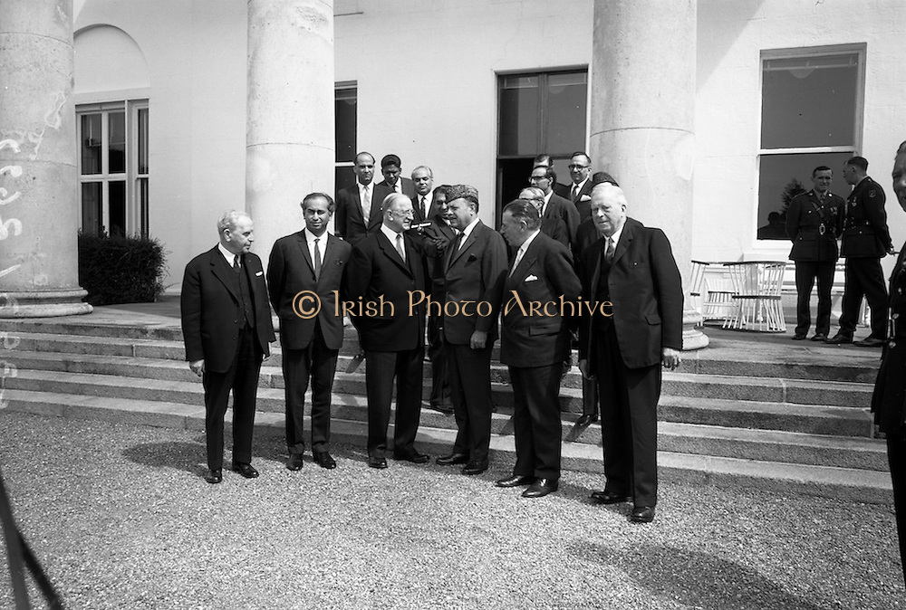 17/7/1964<br /> 7/17/1964<br /> 17 July 1964<br /> <br /> Ayub Khan President of Pakistan standing for a picture withIrish President Éamon de Valera at Aras an Uachtarain