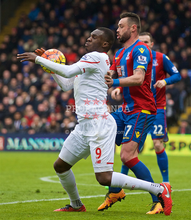 LONDON, ENGLAND - Sunday, March 6, 2016: Liverpool's Christian Benteke in action against Crystal Palace during the Premier League match at Selhurst Park. (Pic by David Rawcliffe/Propaganda)