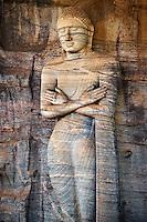 Sri Lanka, province du Centre-Nord, cité historique de Polonnaruwa, classée au Patrimoine Mondial de l'UNESCO, Gal Vihariya (Gal Vihara), ensemble des quatres statues de Bouddha taillées dans la roche, statue du Bouddha debout ou Ananda // Sri Lanka, Ceylon, North Central Province, ancient city of Polonnaruwa, UNESCO World Heritage Site, Gal Vihara, standing Buddha or Ananda