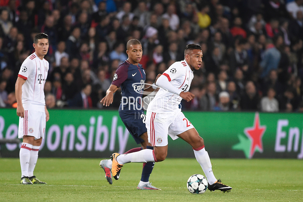 French midfielder Corentin Tolisso of Bayern Munich competes with French forward Kylian Mbappe of Paris Saint Germain during the UEFA Champions League, Group B football match between Paris Saint-Germain and Bayern Munich on September 27, 2017 at Parc des Princes stadium in Paris, France - Photo Jean Marie Hervio / Regamedia / ProSportsImages / DPPI