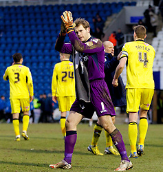 COLCHESTER, ENGLAND - Saturday, February 23, 2013: Tranmere Rovers' goalkeeper Owain Fon Williams celebrates his side's 5-1 win over Colchester United after the Football League One match at the Colchester Community Stadium. (Pic by Vegard Grott/Propaganda)