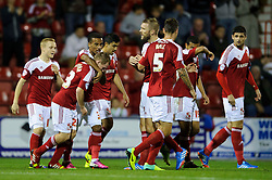 Swindon Defender Jack Barthram (ENG) celebrates scoring a goal during the first half of the match - Photo mandatory by-line: Rogan Thomson/JMP - Tel: Mobile: 07966 386802 08/10/2013 - SPORT - FOOTBALL - County Ground, Swindon - Swindon Town v Plymouth Argyle - Johnstone Paint Trophy Round 2.