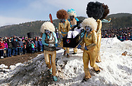 NEDERLAND, CO - MARCH 10: A team competes in the Frozen Dead Guy Days Coffin Races competition at the event on March 10, 2018 in Nederland, Colorado. The Frozen Dead Guy Days festival is in honor of Bredo Morstol, who is frozen on dry ice and housed in a shed above the town. (Photo by Rick T. Wilking/Getty Images)