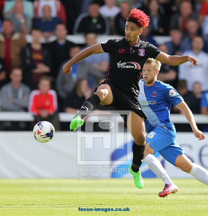 Bastien Hery (l) of Carlisle United during the Sky Bet League 2 match at Victoria Park, Hartlepool<br /> Picture by Simon Moore/Focus Images Ltd 07807 671782<br /> 29/08/2015