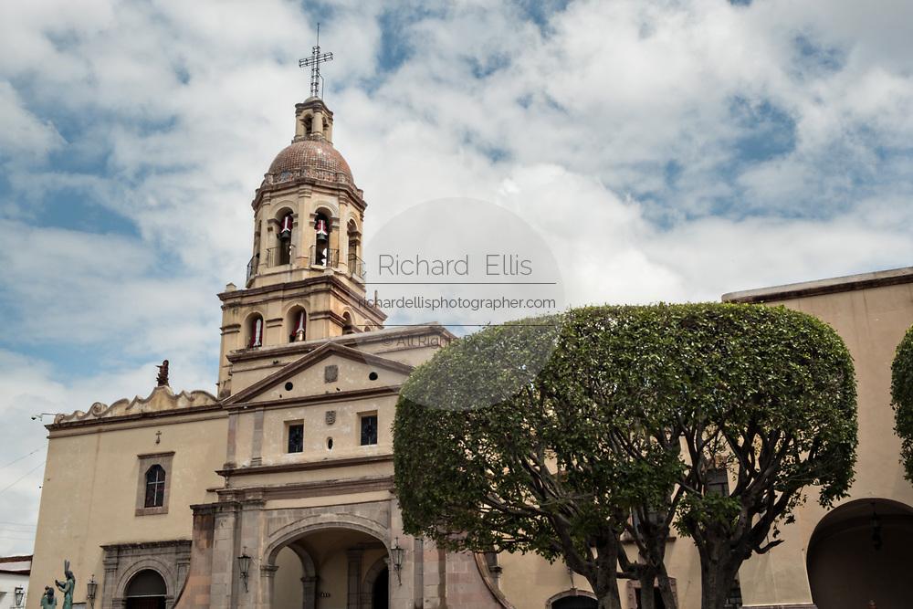Holy Cross Church and Franciscan Convent also called the Templo y Convento de la Santa Cruz on Founders Plaza in the old colonial section of Santiago de Queretaro, Queretaro State, Mexico.