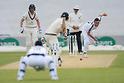 Kyle Abbott of Hampshire bowing to Stephen Eskinazi of Middlesex during the Specsavers County Champ Div 1 match between Hampshire County Cricket Club and Middlesex County Cricket Club at the Ageas Bowl, Southampton, United Kingdom on 16 April 2017. Photo by David Vokes.
