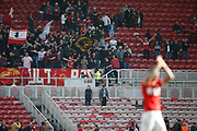 Middlesbrough fans celebrate at full time during the EFL Sky Bet Championship match between Middlesbrough and Stoke City at the Riverside Stadium, Middlesbrough, England on 19 April 2019.