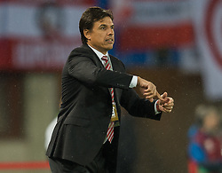 VIENNA, AUSTRIA - Thursday, October 6, 2016: Wales' manager Chris Coleman reacts during the 2018 FIFA World Cup Qualifying Group D match against Austria at the Ernst-Happel-Stadion. (Pic by Peter Powell/Propaganda)