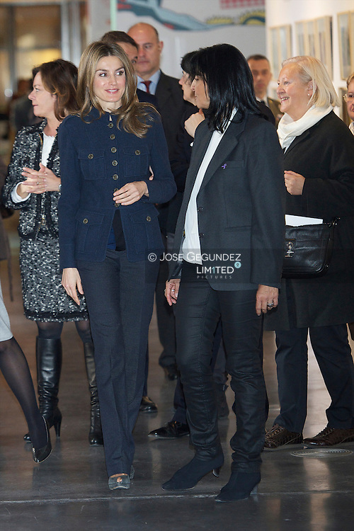 """Princess Letizia Visits the 36th  Book Fair For Children and Youth of Madrid """"What knows this book?"""" at Conde Duque Cultural Center on 21 December, 2012 in Madrid"""