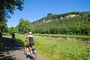 Elberadweg  bei Bad Schandau, Elbsandsteingebirge, Sächsische Schweiz, Sachsen, Deutschland.|.Elbe cycle path near Bad Schandau, Saxon Switzerland, Saxony, Germany