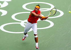 Aug 11, 2008, Beijing, China, Rafael Nadal of Spain 2:1 Potito Starace of Italy in a men's singles first round match during day three of the 2008 Beijing Olympic Games.