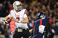 TUCSON, AZ - NOVEMBER 14: Quarterback Travis Wilson #7 of the Utah Utes looks to make a pass against the Arizona Wildcats in the first quarter of the game at Arizona Stadium on November 14, 2015 in Tucson, Arizona.  (Photo by Jennifer Stewart/Getty Images)