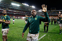 CAPE TOWN, SOUTH AFRICA - JUNE 23: Tendai Mtawarira waves at the crowd after England beat them 24-10 at Newlands Stadium on June 23, 2018 in Cape Town, South Africa. (Photo by MB Media/Getty Images)