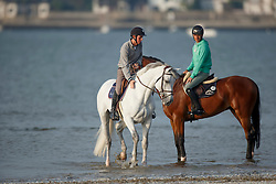 Guerdat Steve, (SUI), Corbinian, Verlooy Jos, (BEL), Caracas helping out Verlooy Jos, (BEL), Caracas to get into the sea<br /> Furusiyya FEI Nations Cup presented by Longines <br /> La Baule 2016<br /> © Hippo Foto - Dirk Caremans<br /> 14/05/16