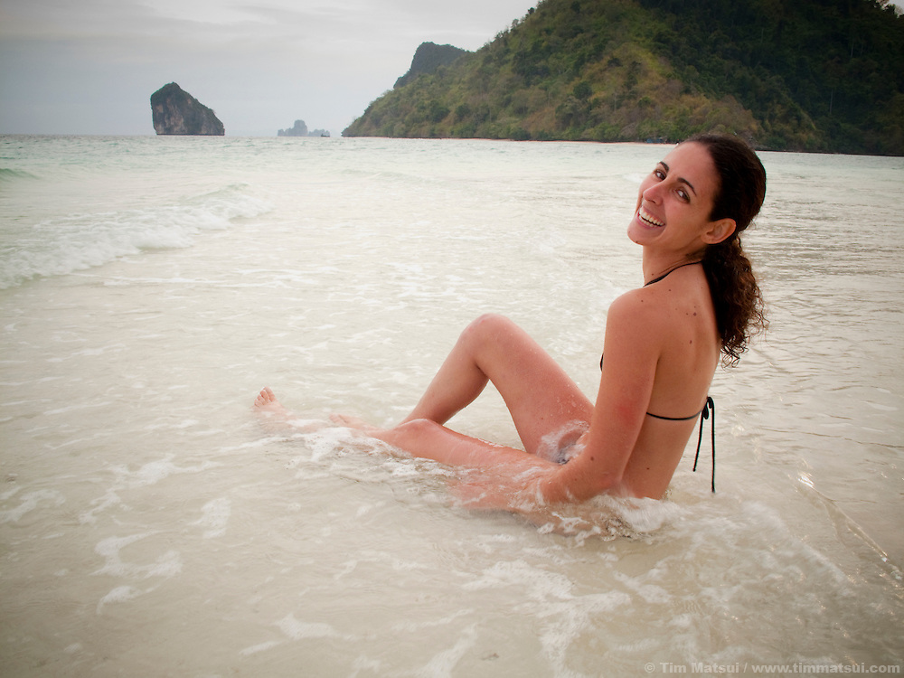 A woman in the surf near Tonsai, Thailand.