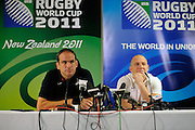 Martin Johnson & Mike Tindall of England, during an England Press Conference at Southern Cross Hotel in Dunedin, New Zealand. IRB Rugby World Cup 2011. Thursday 22 September 2011. New Zealand. Photo: Richard Hood/photosport.co.nz