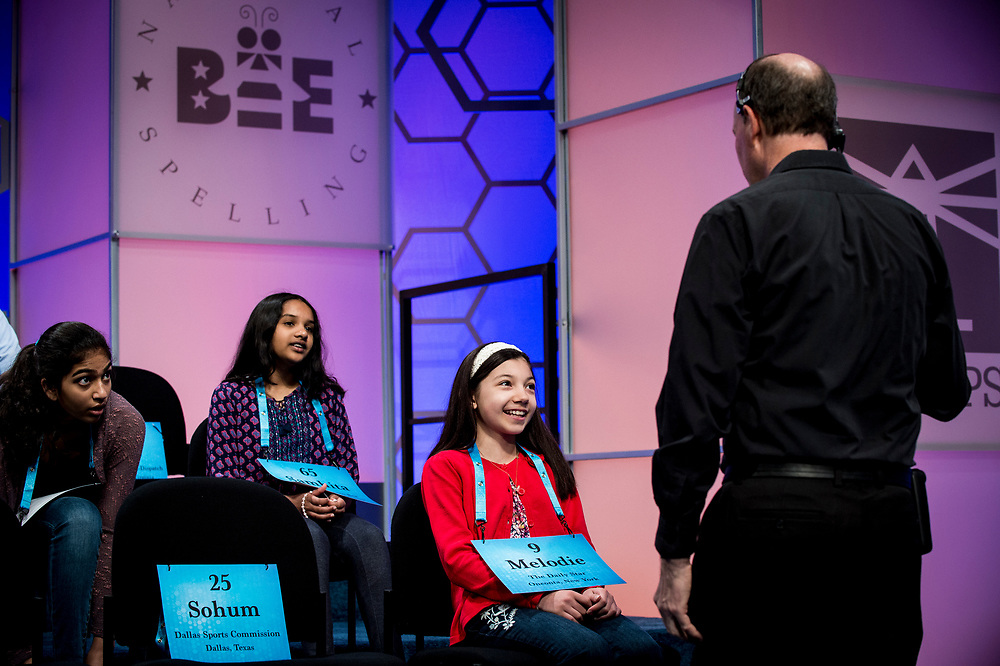 Melodie Loya, 12, from Bainbridge, N.Y., receives final instructions before participating in the finals of the 2017 Scripps National Spelling Bee on Thursday, June 1, 2017 at the Gaylord National Resort and Convention Center at National Harbor in Oxon Hill, Md.