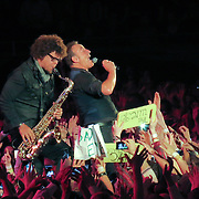 Bruce Springsteen and saxophonist  Jake Clemons at the Telenor Arena in Oslo Norway on the second  night of their European tour on Tuesday evening April 30th 2013...Tuesday night was the second of 33 concerts in which Springsteen will play this summer including a sold out show at Wembley Stadium on June 15th .He will also return to the Hard Rock Calling Festival in which he was famously turned off before the end whilst on stage with Sir Paul McCartney at Hyde Park because he broke the curfew,this year it is being played at the Olympic Park,East London...The other UK shows are in Coventry,Glasgow,Cardiff,Belfast and Leeds.