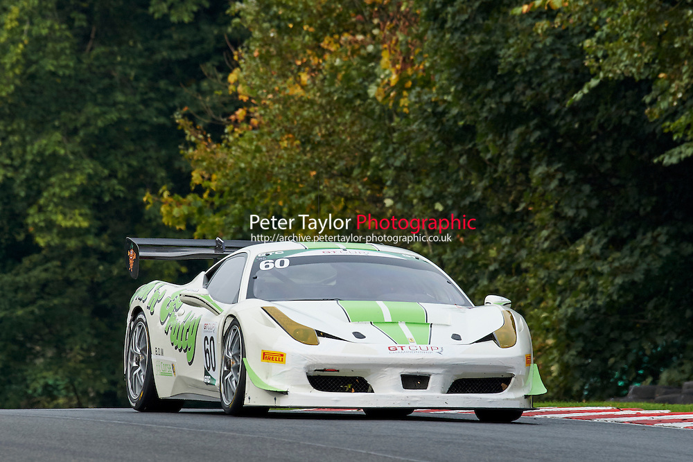 #60 Wayne MARRS Ferrari 458 GTC during GT Cup - Qualifying as part of the MSVR Oulton Park 10th October 2015 at Oulton Park, Little Budworth, Cheshire, United Kingdom. October 10 2015. World Copyright Taylor/PSP. Copy of publication required for printed pictures.  Every used picture is fee-liable. http://archive.petertaylor-photographic.co.uk