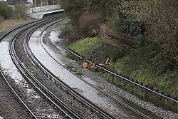 © Licenced to London News Pictures.  12/02/2014.  London UK  Whyteleafe is the main source of the flood in Kenley due to the River Bourne bursting its banks also caused by the flood being fed by a burst culvert next to the railway on the A22/ Godstone Road.<br /> Photo Credit: Presspics/LNP
