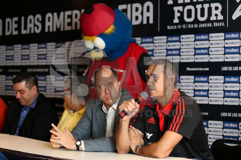 RIO DE JANEIRO, RJ, 13.03.2015 - FINAL FOUR LIGA DAS AMÉRICAS 2015 - COLETIVA DE IMPRENSA - Coletiva de imprensa do Final Four da Liga das Américas 2015. O torneio de basquete reúne as quatro melhores equipes da Américas e será disputado nos dias 14 e 15 de março de 2015, entre Flamengo (Brasil), Paschoalotto/Bauru (Brasil), Peñarol de Mar del Plata (Argentina) e Pioneros de Quintana Roo (México). A coletiva foi realizada no Ginásio do Maracanãzinho, sede dos jogos, na zona norte da cidade, nesta sexta-feira, 13. (Foto: Gustavo Serebrenick / Brazil Photo Press).