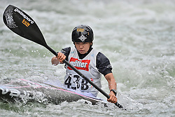 30.06.2013, Eiskanal, Augsburg, GER, ICF Kanuslalom Weltcup, Finale Kajak Teams, Frauen, im Bild Aki YAZAWA (Japan), Finale, Team, Kajak, K1, Teams, Japan, Frauen // during final of the women's kayak team of ICF Canoe Slalom World Cup at the ice track, Augsburg, Germany on 2013/06/30. EXPA Pictures © 2013, PhotoCredit: EXPA/ Eibner/ Matthias Merz<br /> <br /> ***** ATTENTION - OUT OF GER *****