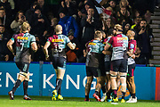 Celebrating a try for Harlequins during the Gallagher Premiership Rugby match between Harlequins and Saracens at Twickenham Stoop, Twickenham, United Kingdom on 6 October 2018.