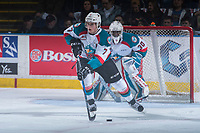 KELOWNA, CANADA - MARCH 24: Lucas Johansen #7 of the Kelowna Rockets skates with the puck against the Kamloops Blazers on March 24, 2017 at Prospera Place in Kelowna, British Columbia, Canada.  (Photo by Marissa Baecker/Shoot the Breeze)  *** Local Caption ***