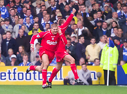 LIVERPOOL, ENGLAND - Saturday, September 15, 2001: Liverpool's captain Steven Gerrard celebrates scoring against  Everton during the Premiership match at Goodison Park. (Pic by David Rawcliffe/Propaganda)