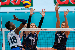04-08-2019 ITA: FIVB Tokyo Volleyball Qualification 2019 / Netherlands, - Italy Catania<br /> last match pool F in hall Pala Catania between Netherlands - Italy for the Olympic ticket. Italy win 3-0 and take the ticket to the Olympics / (L-R) Paola Ogechi Egonu #18 of Italy, Britt Bongaerts #12 of Netherlands, Robin de Kruijf #5 of Netherlands