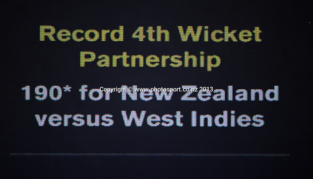 Record partnership sign on Day 2 of the 1st cricket test match of the ANZ Test Series. New Zealand Black Caps v West Indies at University Oval in Dunedin. Wednesday 4 December 2013. Photo: Andrew Cornaga/www.Photosport.co.nz