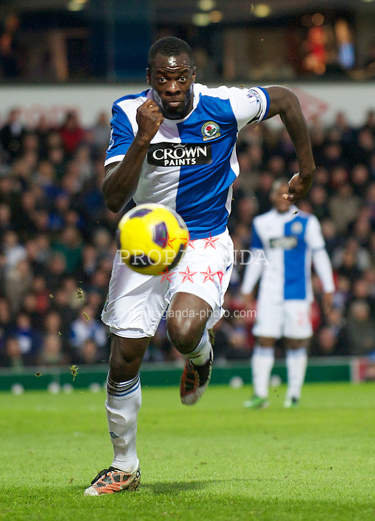 BLACKBURN, ENGLAND - Sunday, January 23, 2011: Blackburn Rovers' captain Christopher Samba in action against West Bromwich Albion during the Premiership match at Ewood Park. (Photo by David Rawcliffe/Propaganda)