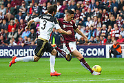 during the Ladbrokes Scottish Premiership match between Heart of Midlothian and Aberdeen at Tynecastle Stadium, Gorgie, Scotland on 20 September 2015. Photo by Craig McAllister.