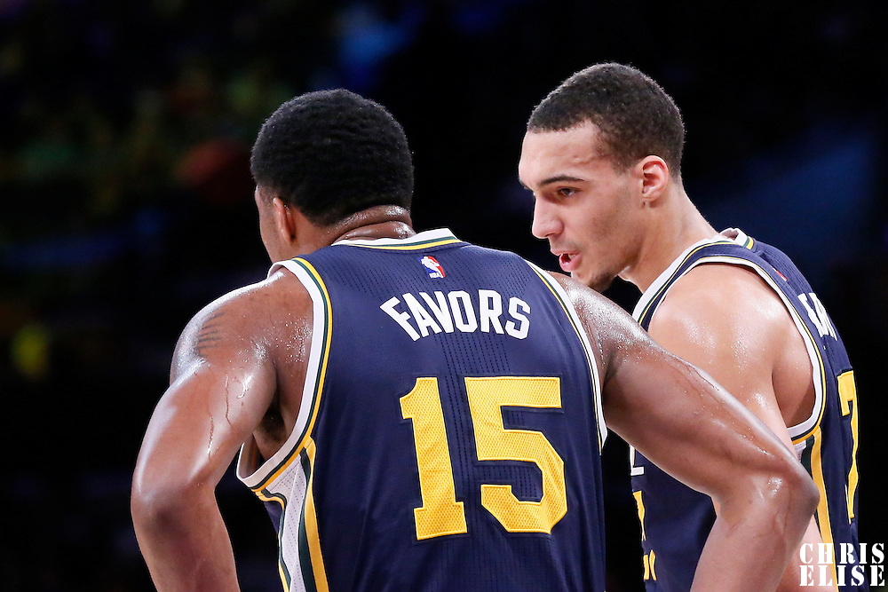 19 March 2015: Utah Jazz center Rudy Gobert (27) talks to Utah Jazz forward Derrick Favors (15) during the Utah Jazz 80-73 victory over the Los Angeles Lakers, at the Staples Center, Los Angeles, California, USA.