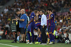 August 7, 2017 - Barcelona, Spain - Head coach Ernesto Valverde of FC Barcelona between Marlon Santos and Carles Alena during the 2017 Joan Gamper Trophy football match between FC Barcelona and Chapecoense on August 7, 2017 at Camp Nou stadium in Barcelona, Spain. (Credit Image: © Manuel Blondeau via ZUMA Wire)