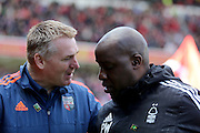 Head Coach Dean Smithand and Head Coach Dean Smith during the Sky Bet Championship match between Nottingham Forest and Brentford at the City Ground, Nottingham, England on 2 April 2016. Photo by Chris Wynne.