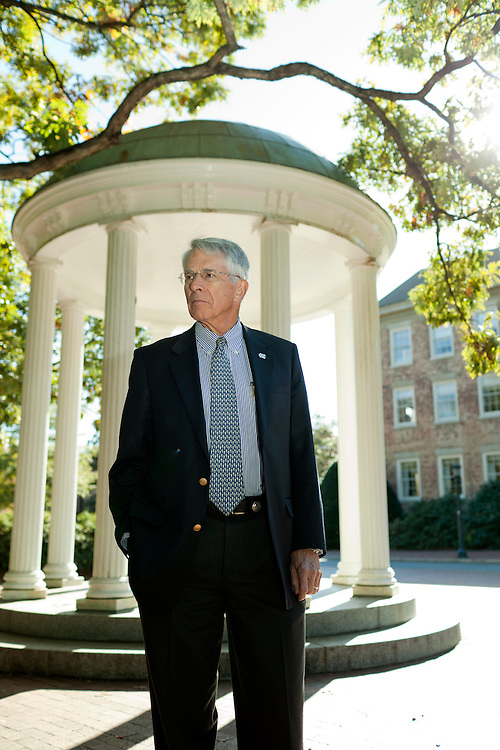 Jack Evans, a former faculty athletics representative at UNC-Chapel Hill, on the main campus in Chapel Hill, North Carolina, Friday, Oct. 22, 2010.
