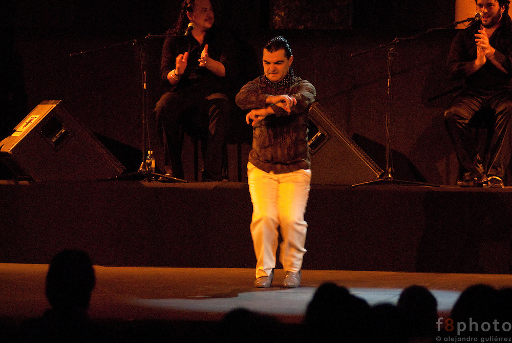 "The dancer Edu Lozano during the Spanish Dance Gala ""Jaleo al Corazón"" in the Second International Dance Festival Ibérica Contemporánea, Querétaro, México,2009."