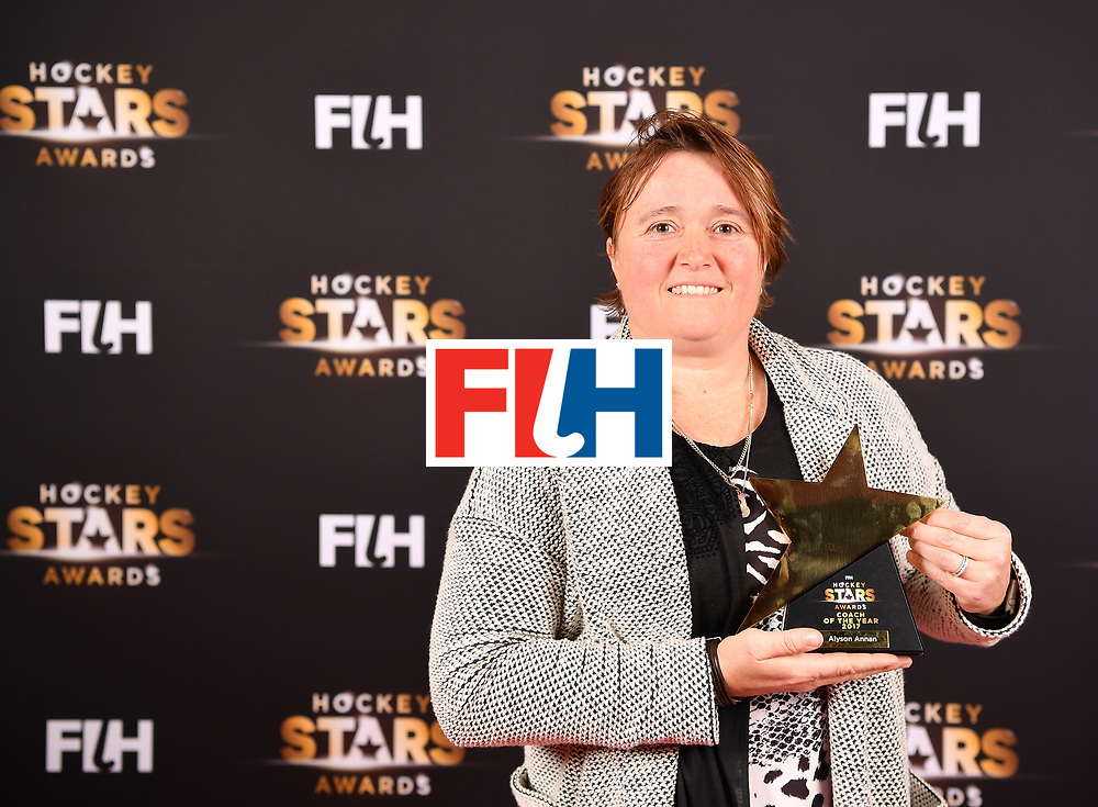 BERLIN, GERMANY - FEBRUARY 05:  Alyson Annan  of Australia with her female coach of the year award during the Hockey Star Awards night at Stilwerk on February 5, 2018 in Berlin, Germany.  (Photo by Stuart Franklin/Getty Images For FIH)