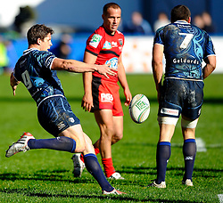 Cardiff Scrum-Half (#9) Lloyd Williams clears during the second half of the match - Photo mandatory by-line: Rogan Thomson/JMP - Tel: Mobile: 07966 386802 21/10/2012 - SPORT - RUGBY - Cardiff Arms Park - Cardiff. Cardiff Blues v Toulon (RC Toulonnais) - Heineken Cup Round 2