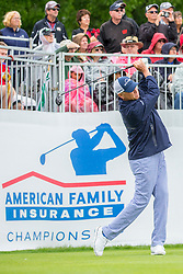 June 22, 2018 - Madison, WI, U.S. - MADISON, WI - JUNE 22: Davis Love III tees off on the first tee during the American Family Insurance Championship Champions Tour golf tournament on June 22, 2018 at University Ridge Golf Course in Madison, WI. (Photo by Lawrence Iles/Icon Sportswire) (Credit Image: © Lawrence Iles/Icon SMI via ZUMA Press)