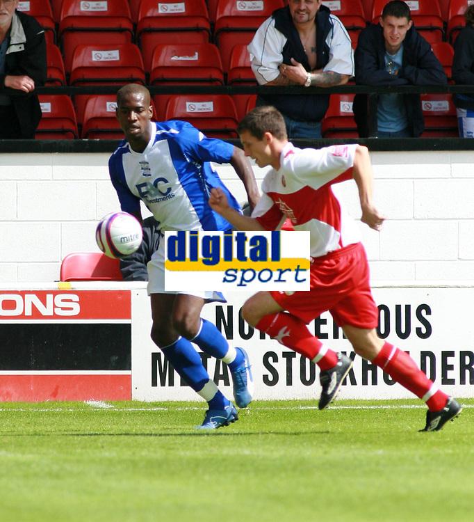 Photo: Mark Stephenson.<br /> Walsall v Birmingham City. Pre Season Friendly. 28/07/2007.New signing's,Birmingham's Oliver Kapo (L) with Walsall;s Paul Boertien (R)