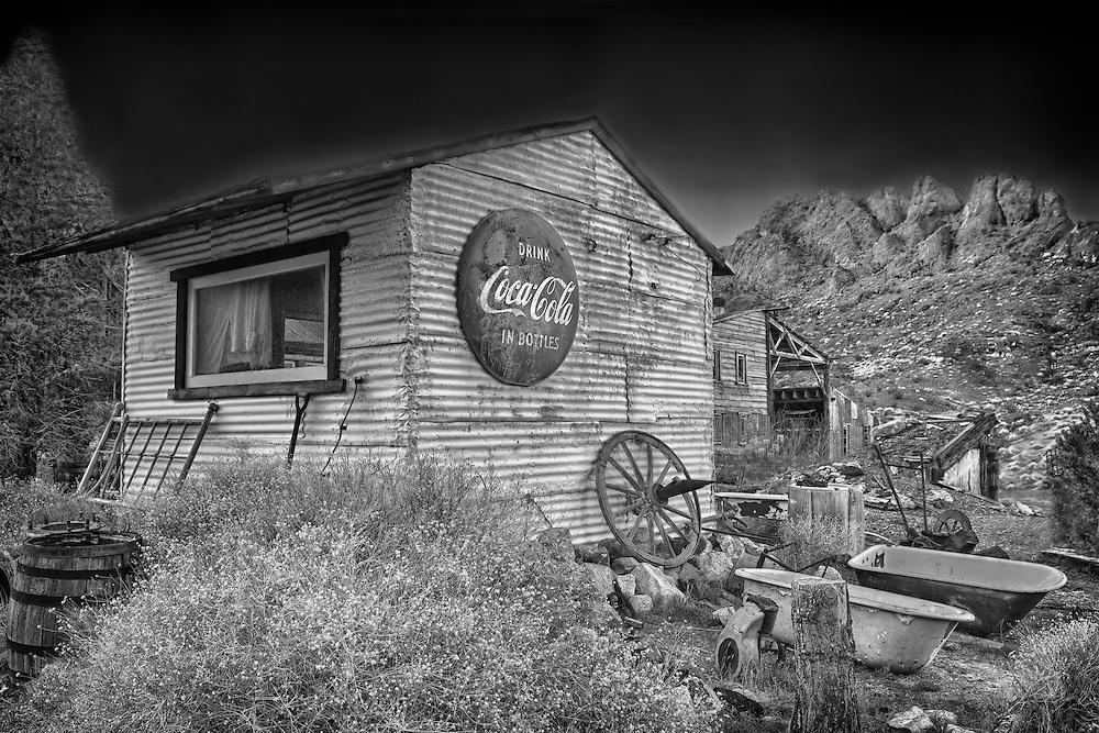 Drink Coca Cola Tin Shack - Eldorado Canyon Techatticup Mine - Nelson NV - HDR -  Infrared Black & White