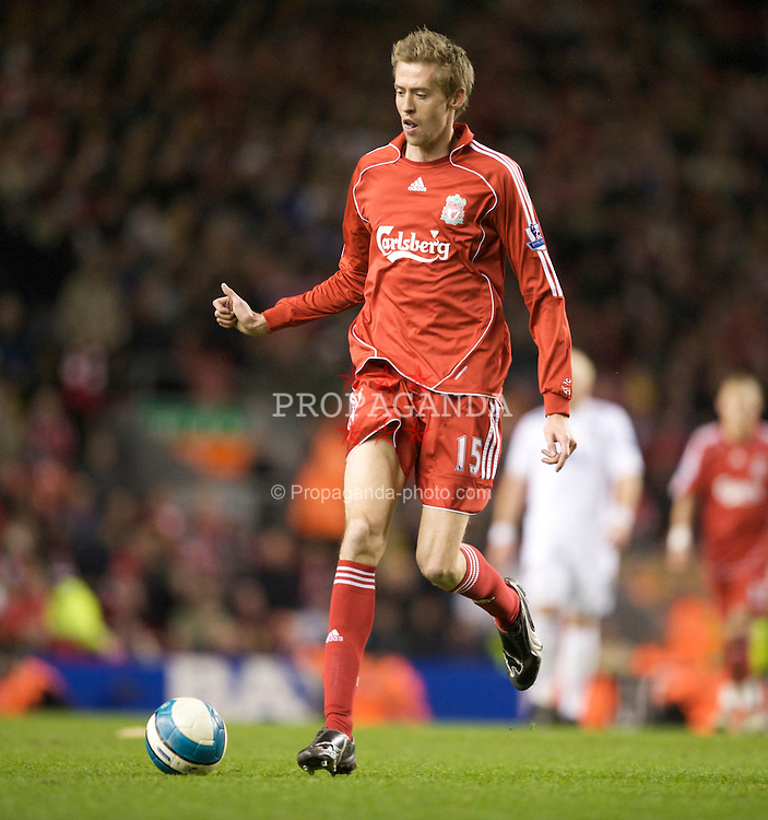 LIVERPOOL, ENGLAND - Wednesday, March 5, 2008: Liverpool's Peter Crouch in action against West Ham United during the Premiership match at Anfield. (Photo by David Rawcliffe/Propaganda)
