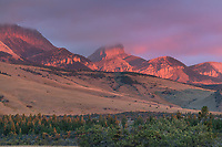 Choteau Mountain at sunrise, Rocky Mountain front ranges near Choteau Montana