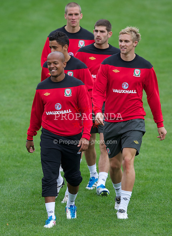 CARDIFF, WALES - Monday, August 8, 2011: Wales' Robert Earnshaw and Jack Collison during training at the Vale of Glamorgan ahead of the International Friendly match against Australia. (Photo by David Rawcliffe/Propaganda)