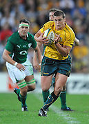 Luke Burgess spots a gap and runs in open space for Australia during action from the Rugby Union Test Match played between Australia and Ireland at Suncorp Stadium (Brisbane) on Saturday 26th June 2010 ~ Australia (22) defeated Ireland (15) ~ © Image Aura Images.com.au ~ Conditions of Use: This image is intended for Editorial use as news and commentry in print, electronic and online media ~ Required Image Credit : Steven Hight (AURA Images)For any alternative use please contact AURA Images