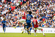Arsenal defender Nacho Monreal (18), Chelsea (22) Willian during the FA Community Shield match between Arsenal and Chelsea at Wembley Stadium, London, England on 6 August 2017. Photo by Sebastian Frej.