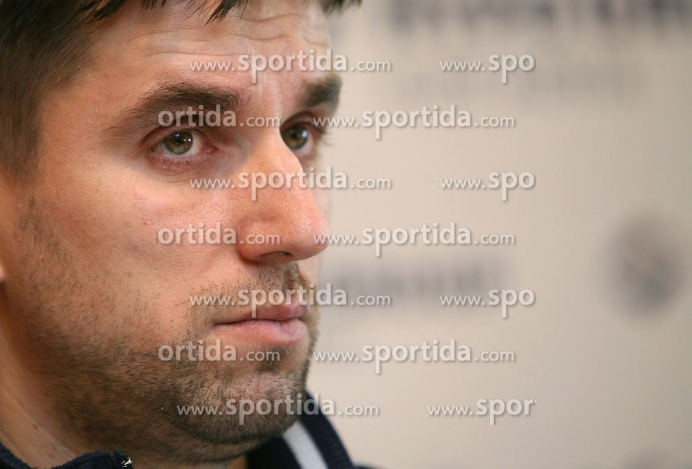 Robert Begus, coach of Slovenian women team  at the press conference of the Handball Federation of Slovenia after Mens`s European Championship in Norway (17 to 27 January 2008), where Slovenia finished at 10th place. The press conference was held in Ljubljana  on January 29, 2008. (Photo by Vid Ponikvar / Sportal Images).