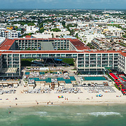 Aerial view of the Grand Hyatt hotel. Playa del Carmen. Quintana Roo, Mexico.